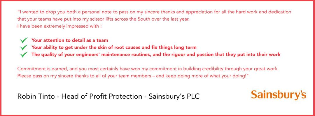 Robin Tinto - Sainsbury's Testimonial