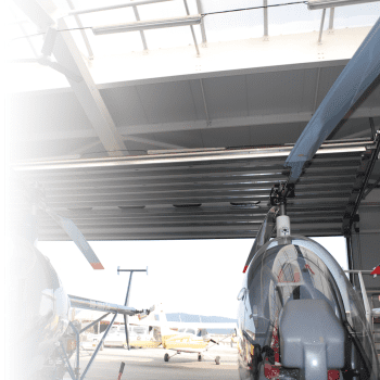 A special version of an overhead door in a hangar