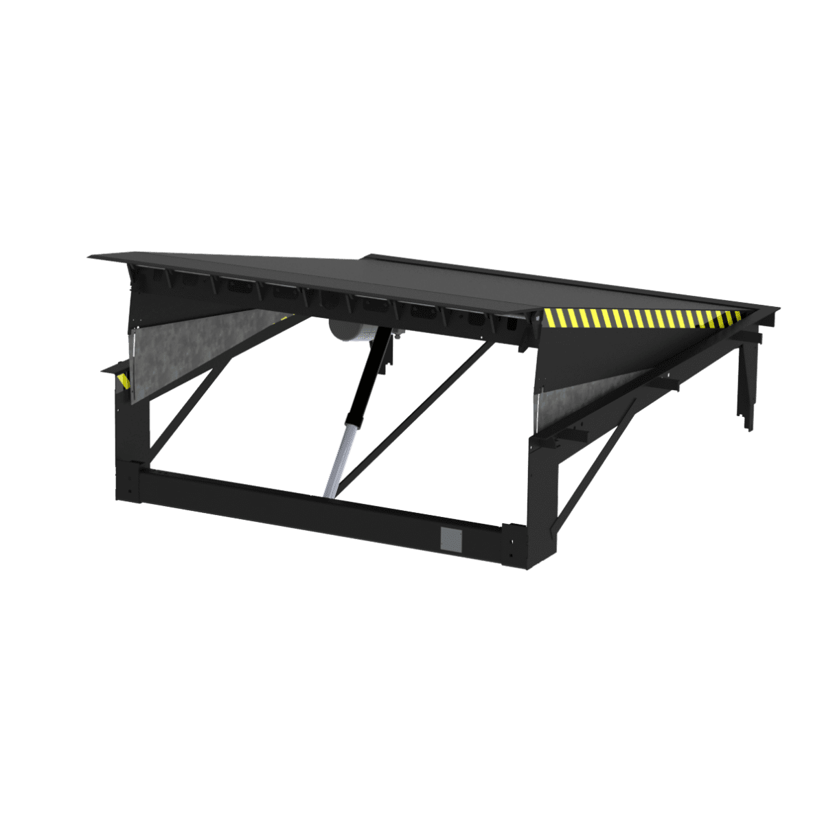 Hinged swing lip dock leveller